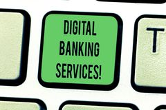 Muestra del texto que muestra los servicios bancarios de Digitaces Numeración conceptual de la foto de todas las actividades banc fotografía de archivo libre de regalías