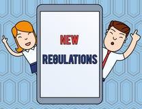Muestra del texto que muestra nuevas regulaciones Regulaci?n conceptual de la foto que controla la actividad usada generalmente p ilustración del vector