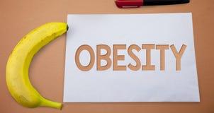 Muestra del texto que muestra obesidad El exceso conceptual de la dolencia de la foto de grasas de cuerpo acumuló li de papel del Foto de archivo