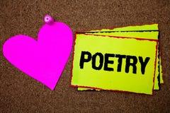 Muestra del texto que muestra poesía Expresión conceptual del trabajo literario de la foto de las ideas de las sensaciones con lo fotos de archivo libres de regalías