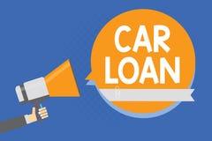 Muestra del texto que muestra préstamo de coche Foto conceptual que toma el dinero del banco con interés grande de comprar al nue ilustración del vector