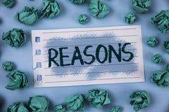 Muestra del texto que muestra razones La foto conceptual causa las justificaciones de las explicaciones para una motivación de la imágenes de archivo libres de regalías