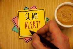 Muestra del texto que muestra a Scam llamada de motivación alerta Advertencia conceptual de la seguridad de las fotos para evitar Fotos de archivo