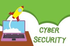 Muestra del texto que muestra seguridad cibern?tica La foto conceptual protege un sistema informático contra el acceso desautoriz stock de ilustración
