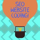 Muestra del texto que muestra a Seo Website Coding La foto conceptual crea el sitio en manera para hacerla más visible al Search  libre illustration