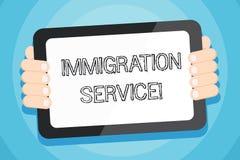 Muestra del texto que muestra servicio de la inmigraci?n Foto conceptual responsable de la ley con respecto inmigrantes y a color ilustración del vector