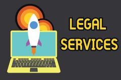 Muestra del texto que muestra servicios jur?dicos Foto conceptual que proporciona el acceso al cohete de lanzamiento de la iguald stock de ilustración