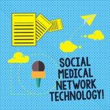 Muestra del texto que muestra tecnología de red médica social Información de conexión moderna en línea del establecimiento de una stock de ilustración