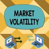 Muestra del texto que muestra volatilidad de mercado Los precios de seguridades de la foto que son la base conceptual fluctúan in stock de ilustración