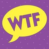 Muestra del texto que muestra Wtf Abreviatura escrita argot ofensivo conceptual de la foto a la sorpresa y al asombro de la demos stock de ilustración