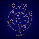 Muestra del vector del aries del zodiaco en círculos del color de oro en un fondo, un logotipo, un tatuaje o un ejemplo azul ilustración del vector