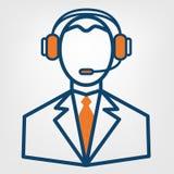 Muestra del vector de la ayuda del centro de atención telefónica, hombre en icono sin manos de los auriculares Imagen de archivo libre de regalías