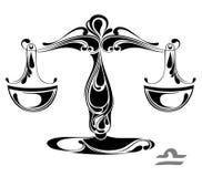 Muestra del vector del zodiaco del libra. Diseño del tatuaje Fotos de archivo libres de regalías