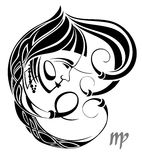 Muestra del vector del zodiaco del virgo. Diseño del tatuaje Foto de archivo libre de regalías