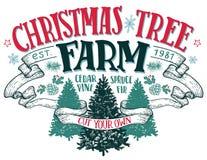 Muestra del vintage de la granja de árbol de navidad