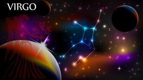 Muestra del virgo y espacio astrológicos de la copia stock de ilustración