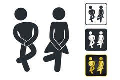 Muestra del WC para el lavabo Iconos de la placa de la puerta del retrete Hombres y mujeres Vec ilustración del vector