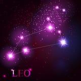 Muestra del zodiaco de Leo de las estrellas brillantes hermosas Fotografía de archivo libre de regalías
