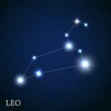 Muestra del zodiaco de Leo de las estrellas brillantes hermosas Imagen de archivo