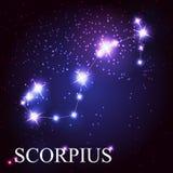 Muestra del zodiaco de Scorpius de las estrellas brillantes hermosas Foto de archivo libre de regalías
