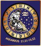 Muestra del zodiaco del acuario. Círculo del horóscopo. Retro Fotos de archivo