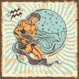 Muestra del zodiaco del acuario Tarjeta del horóscopo del vintage Foto de archivo libre de regalías