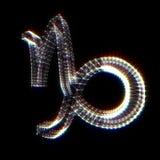 Muestra del zodiaco del Capricornio Puntos conectados 3D brillantes en negro Foto de archivo