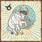 Muestra del zodiaco del tauro Tarjeta del horóscopo del vintage