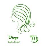 Muestra del zodiaco del virgo Perfil femenino estilizado del contorno Imagen de archivo libre de regalías