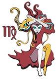 Muestra del zodiaco del virgo Reina de espadas Muchacha gótica psicodélica, abstracta en un estilo surrealista Carácter fabuloso  Imagen de archivo libre de regalías