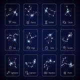 Muestra del zodiaco que toda la constelación del horóscopo protagoniza para la plantilla del vector de la aplicación móvil Imagen de archivo