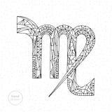 Muestra del zodiaco del virgo Ejemplo dibujado mano del horóscopo del vector Página astrológica del colorante Foto de archivo