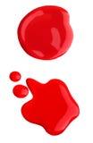Muestra derramada roja del nailpolish Imagen de archivo libre de regalías