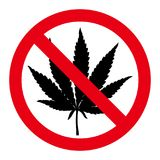 Muestra dibujada mano de la parada de la hoja de la marijuana Imagen de archivo libre de regalías