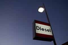 Muestra diesel en la gasolinera Fotografía de archivo libre de regalías