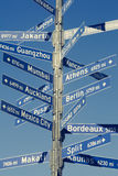 Muestra direccional del kilometraje para las ciudades del mundo Imagen de archivo libre de regalías