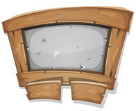 Muestra divertida de madera y de la piedra para el juego de Ui stock de ilustración
