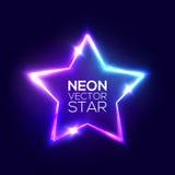 Muestra eléctrica del club de noche del marco de la estrella de neón abstracta Imagenes de archivo