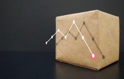 Muestra el gráfico que va abajo Caídas del gráfico de negocio Foto de archivo