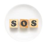 Muestra el SOS Imagen de archivo