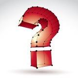muestra elegante del signo de interrogación del web de la malla 3d en el backgro blanco Foto de archivo libre de regalías