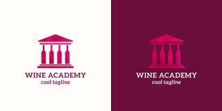 Muestra, emblema o Logo Template del vector del extracto de la academia del vino Construcción de la universidad o de escuelas con ilustración del vector