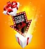 Muestra emocionante del regalo de la venta cibernética de lunes Fotografía de archivo libre de regalías