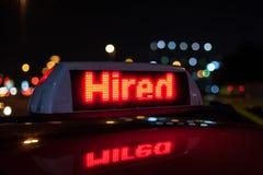 Muestra empleada del taxi Imagen de archivo libre de regalías