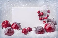 Muestra en blanco con las decoraciones de la Navidad imagenes de archivo