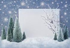 Muestra en blanco con las decoraciones de la Navidad fotografía de archivo libre de regalías