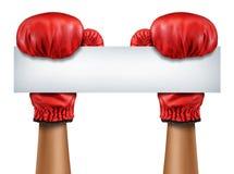 Muestra en blanco de los guantes de boxeo Foto de archivo