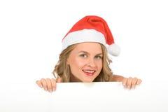 Muestra en blanco - señora Papá Noel (con el espacio de la copia) Imágenes de archivo libres de regalías