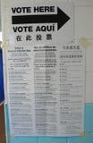 Muestra en el sitio de votación en Nueva York Imágenes de archivo libres de regalías