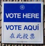 Muestra en el sitio de votación en Nueva York Imagen de archivo